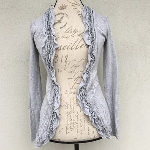 Anthropologie Guinevere Curlytop Ruffle Cardigan